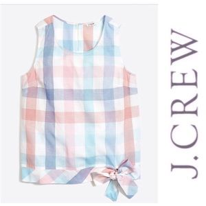 J. Crew Pastel Gingham Side Tie Shell